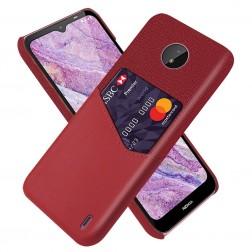 """""""KSQ"""" Shell dėklas su kišenėle - raudonas (Nokia C10 / C20)"""