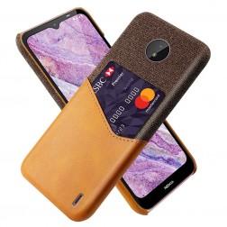 """""""KSQ"""" Shell dėklas su kišenėle - rudas (Nokia C10 / C20)"""