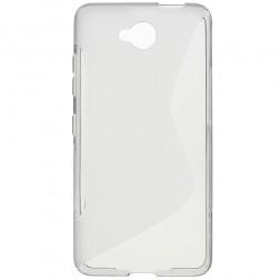 Kieto silikono (TPU) dėklas - skaidrus, pilkas (Lumia 650)