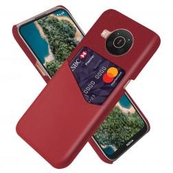 """""""KSQ"""" Shell dėklas su kišenėle - raudonas (Nokia X20 / X10)"""