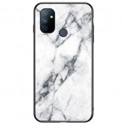 """""""Marble"""" kieto silikono (TPU) dėklas - baltas (OnePlus Nord N100)"""
