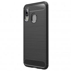 """""""Carbon"""" kieto silikono (TPU) dėklas - juodas (Galaxy A20e)"""