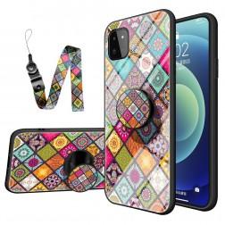 """""""Pattern"""" kieto silikono (TPU) dėklas - spalvotas + raištelis telefonui + laikiklis (Galaxy A22 5G)"""