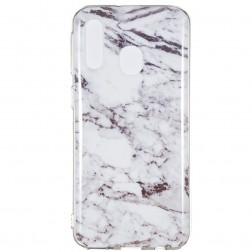 """""""Marble"""" kieto silikono (TPU) dėklas - baltas (Galaxy A40)"""
