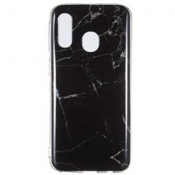 """""""Marble"""" kieto silikono (TPU) dėklas - juodas (Galaxy A40)"""