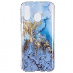 """Marble"" kieto silikono (TPU) dėklas - mėlynas (Galaxy A40)"