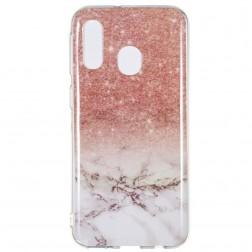 """""""Marble"""" kieto silikono (TPU) dėklas - rudas (Galaxy A40)"""