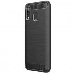 """""""Carbon"""" kieto silikono (TPU) dėklas - juodas (Galaxy A40)"""