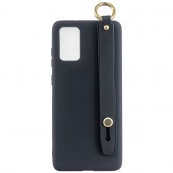 """""""Strap"""" Kickstand  kieto silikono (TPU) dėklas - juodas (Galaxy A41)"""
