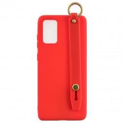 """""""Strap"""" Kickstand  kieto silikono (TPU) dėklas - raudonas (Galaxy A41)"""