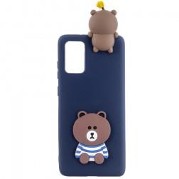 """""""Squezy"""" Bear kieto silikono (TPU) dėklas - mėlynas (Galaxy A41)"""