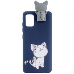 """""""Squezy"""" Cat kieto silikono (TPU) dėklas - mėlynas (Galaxy A41)"""