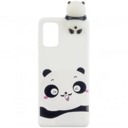 """""""Squezy"""" Panda kieto silikono (TPU) dėklas - baltas (Galaxy A41)"""
