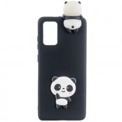 """""""Squezy"""" Panda kieto silikono (TPU) dėklas - juodas (Galaxy A41)"""