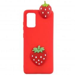 """""""Squezy"""" Strawberry kieto silikono (TPU) dėklas - raudonas (Galaxy A41)"""