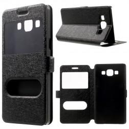 """Atverčiamas """"Dual Window"""" dėklas - juodas (Galaxy A5 2015)"""