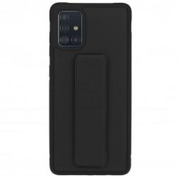 """""""Finger Grip"""" Kickstand  kieto silikono (TPU) dėklas - juodas (Galaxy A51)"""