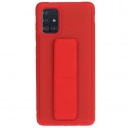 """""""Finger Grip"""" Kickstand  kieto silikono (TPU) dėklas - raudonas (Galaxy A51)"""