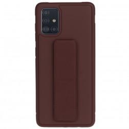 """""""Finger Grip"""" Kickstand  kieto silikono (TPU) dėklas - rudas (Galaxy A51)"""