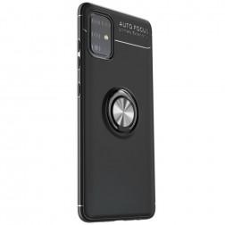 """""""FOCUS"""" Kickstand kieto silikono (TPU) dėklas - juodas (Galaxy A51)"""