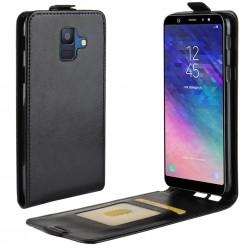 Vertikaliai atverčiamas dėklas - juodas (Galaxy A6 2018)