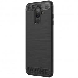 """""""Carbon"""" kieto silikono (TPU) dėklas - juodas (Galaxy A6+ 2018)"""