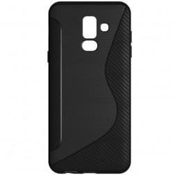 """""""S-Line"""" kieto silikono (TPU) dėklas - juodas (Galaxy A6+ 2018)"""