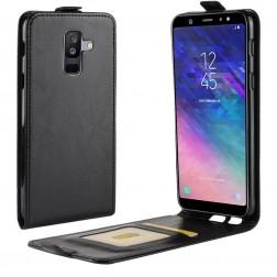 Vertikaliai atverčiamas dėklas - juodas (Galaxy A6+ 2018)