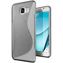 """""""S-Line"""" kieto silikono (TPU) dėklas - skaidrus, pilkas (Galaxy A7 2017)"""