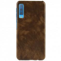 """""""Litchi"""" Skin Leather dėklas - rudas (Galaxy A7 2018)"""