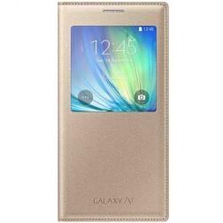Atverčiamas dėklas su langeliu - auksinis (Galaxy A7 2015)
