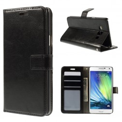 Atverčiamas odinis dėklas - juodas (Galaxy A7)