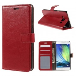 Atverčiamas odinis dėklas - raudonas (Galaxy A7)