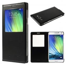 """""""Smart Window"""" atverčiamas odinis dėklas - juodas (Galaxy A7)"""
