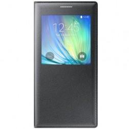 Atverčiamas dėklas su langeliu - juodas (Galaxy A7)