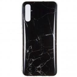 """""""Marble"""" kieto silikono (TPU) dėklas - juodas (Galaxy A7 2018)"""
