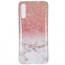 """""""Marble"""" kieto silikono (TPU) dėklas - rudas (Galaxy A7 2018)"""