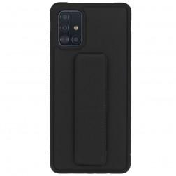 """""""Finger Grip"""" Kickstand  kieto silikono (TPU) dėklas - juodas (Galaxy A71)"""