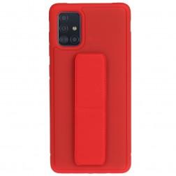 """""""Finger Grip"""" Kickstand  kieto silikono (TPU) dėklas - raudonas (Galaxy A71)"""