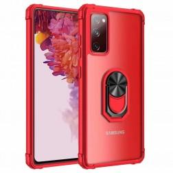 """""""Fashion"""" Kickstand kieto silikono (TPU) dėklas - skaidrus / raudonas (Galaxy A72)"""
