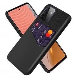 """""""KSQ"""" Shell dėklas su kišenėle - juodas (Galaxy A72)"""
