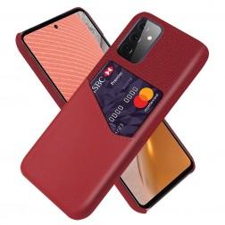 """""""KSQ"""" Shell dėklas su kišenėle - raudonas (Galaxy A72)"""