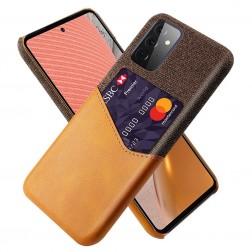 """""""KSQ"""" Shell dėklas su kišenėle - rudas (Galaxy A72)"""