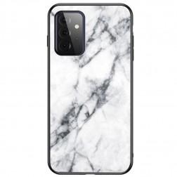 """""""Marble"""" kieto silikono (TPU) dėklas - baltas  (Galaxy A72)"""