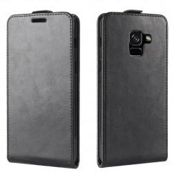 Vertikaliai atverčiamas dėklas - juodas (Galaxy A8+ 2018)