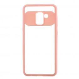"""""""FOCUS"""" dėklas - skaidrus / rožinis (Galaxy A8 2018)"""