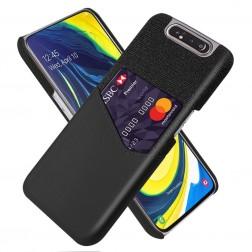 """""""KSQ"""" Shell dėklas su kišenėle - juodas (Galaxy A80)"""