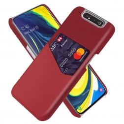 """""""KSQ"""" Shell dėklas su kišenėle - raudonas (Galaxy A80)"""