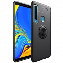 """""""FOCUS"""" Kickstand kieto silikono (TPU) dėklas - juodas (Galaxy A9 2018)"""
