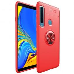 """""""FOCUS"""" Kickstand kieto silikono (TPU) dėklas - raudonas (Galaxy A9 2018)"""